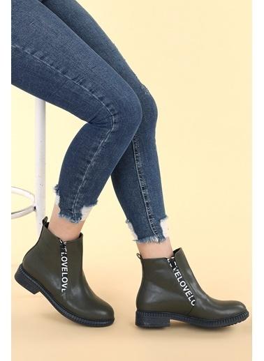 Ayakland Ayakland N901-07 Cilt Termo Taban Kadın Bot Ayakkabı Haki